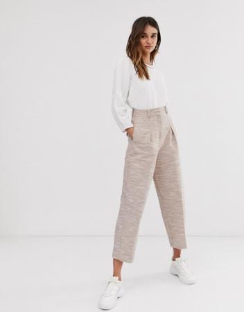 Beige broek met hoge taille