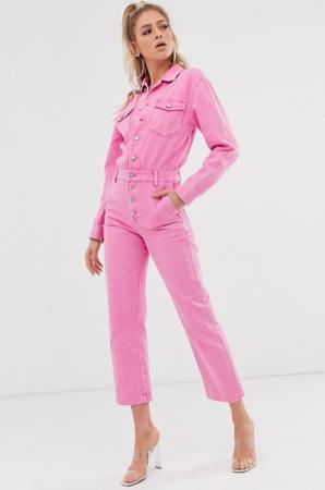Roze boilersuit in denim