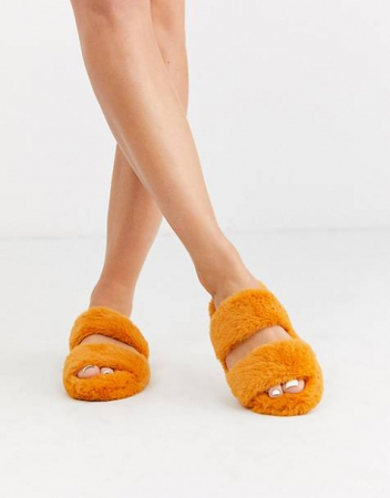 Oranje slippers met faux fur