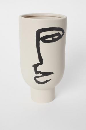 Vaas van geglazuurde keramiek met tekening