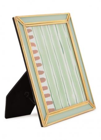 Goudkleurige fotolijst met muntgroen glas