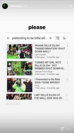 Instagram Stories Billie Eilish