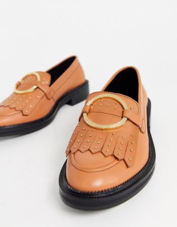 Bruine loafers met gouden details
