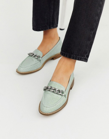 Pastelblauwe loafers in croco
