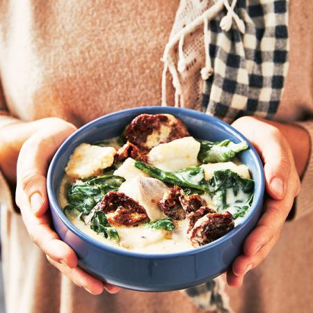 3. Gepocheerde kabeljauw met spinazie en kokosmelk
