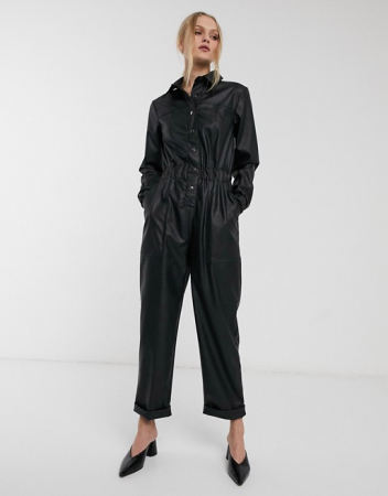 Jumpsuit in imitatieleer
