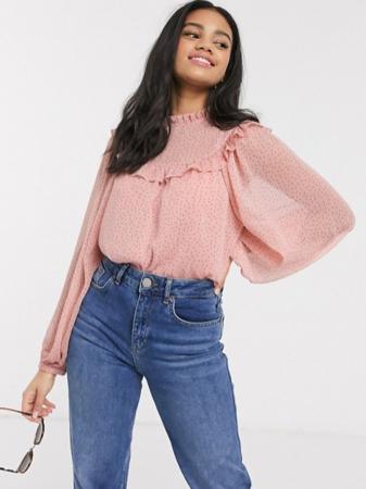 Roze blouse met pofmouwen en polkadots