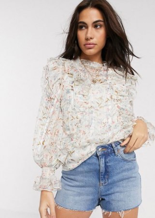 Witte blouse met bloemenprint en ruches