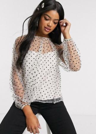Witte blouse met pofmouwen en polkadots
