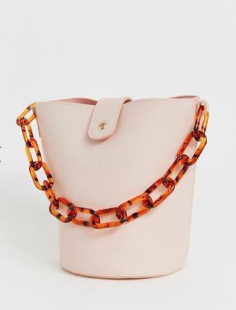 Poederroze bucket bag in imitatieleer met tortoise ketting