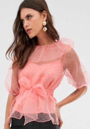 Koraalroze transparante blouse met polkadots