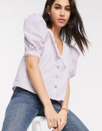 Lila blouse met korte mouwen en kanten kraag