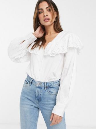 Witte blouse met lange mouwen en kraag in broderie anglaise