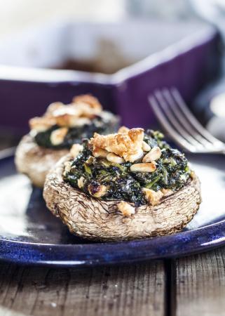 Gevulde portobello's met fetakaas en spinazie