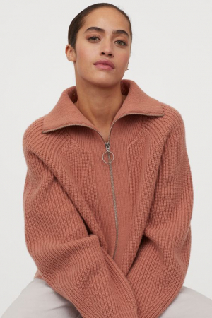 Oudroze trui met ritssluiting