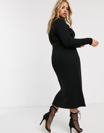 Gebreide jurk met split