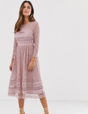 Kanten midi-jurk met driekwartmouwen in vieux rose