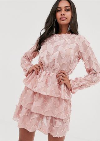 Mini-jurk met lange mouwen in vieux rose