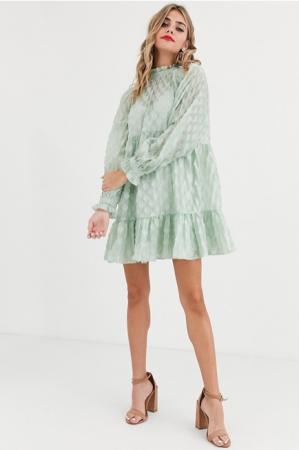 Mini-jurk met lange mouwen in saliegroen