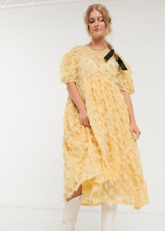 Botergele midi-jurk met korte mouwen