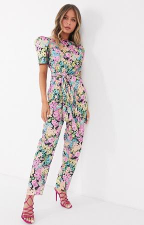 Jumpsuit met korte mouwen en bloemenprint
