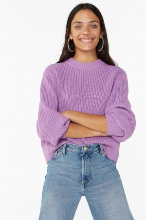 Lila trui met pofmouwen