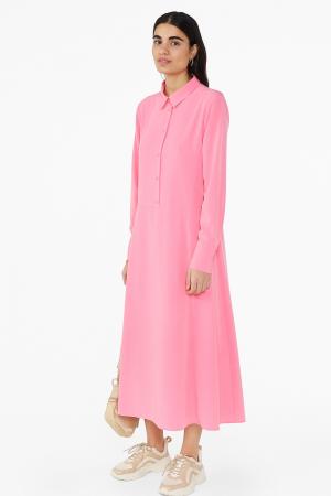 Roze hemdjurk met lange mouwen