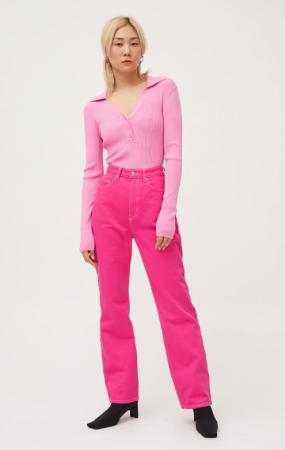 Fuchsia jeans met hoge taille
