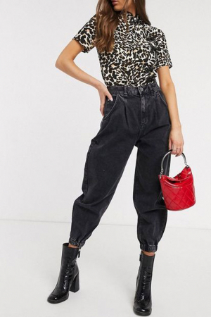 Donkergrijze slouchy jeans