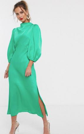 Midi-jurk met pofmouwen