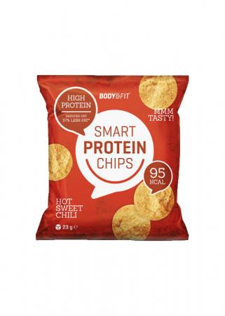 Eiwitrijke en caloriearme chips bereid door middel van hetelucht en op smaak gebracht met fijne kruiden