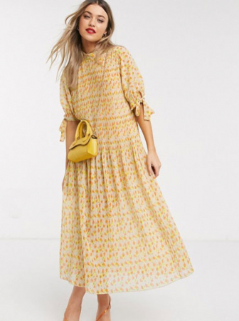 Oversized jurk met korte mouwen en gele en oranje bloemenprint