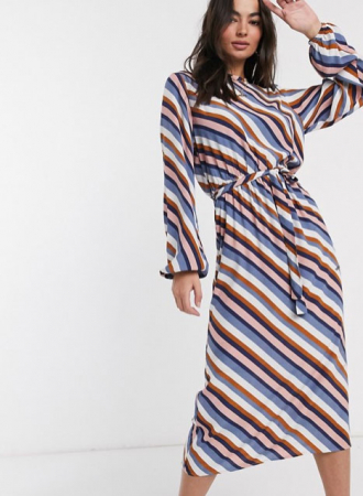 Gestreepte midi-jurk met lange mouwen