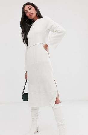 Witte midi-jurk met split en lange mouwen
