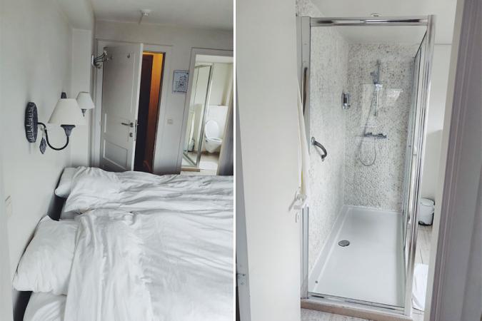 Heerlijk zachte hotellakens en -kussens (op de foto reeds beslapen, <em>of course</em>) en een douche waar je met tien man in kan staan: meer moet het niet zijn.