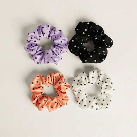 Set scrunchies met stippen