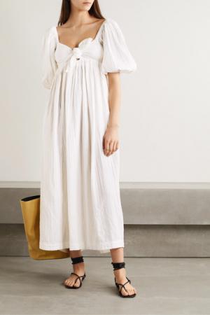 Maxi-jurk met korte mouwen en strik in organisch katoen