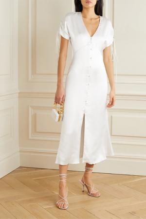 Midi-jurk in satijn met V-hals en korte mouwen