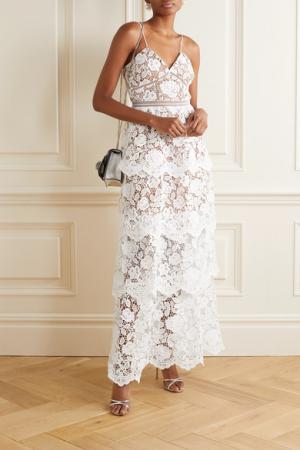 Mouwloze maxi-jurk in kant