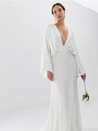 Kimono-jurk bezet met pailletten