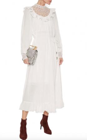 Midi-jurk met ruches en gehaakte decolleté