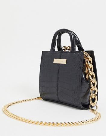 Zwarte tas in croco