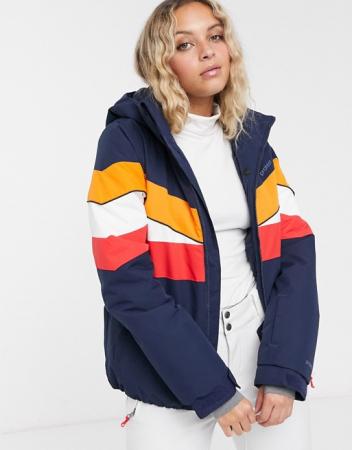 Donkerblauwe jas met felle kleurtjes