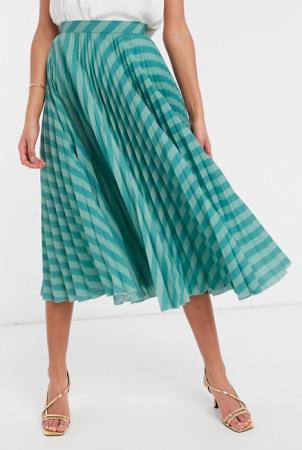 Blauw-groen gestreepte midirok in plissé