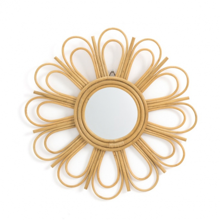 Bloemvormige spiegel in rotan 'Nogu'