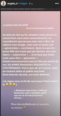 '<em>Ouhlala</em>, gelukkig behoor ik niet tot die GEMENE, GEWELDDADIGE en HYSTERISCHE feministes. Want oké, je mag je mond openen, maar blijf wel mooi en beleefd, hè', schrijft Angèle met veel sarcasme.