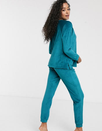 Loungewear set in het middenblauw