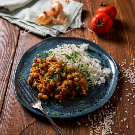 Vegetarische curry met kikkererwten en linzen