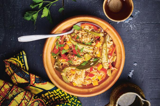 Jambalaya met groenten en cajunkruiden (6 pers., 40 + 30 min.)