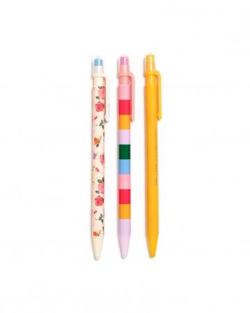 Set van drie kleurrijke balpennen